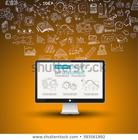 Stock fotó: Infografika · összetett · elrendezés · opció · gombok · kézzel · rajzolt