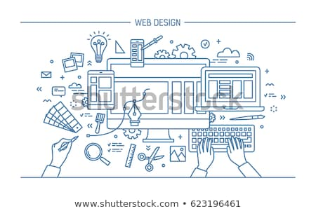 Mobiles marketing publicité ligne art illustration Photo stock © cienpies
