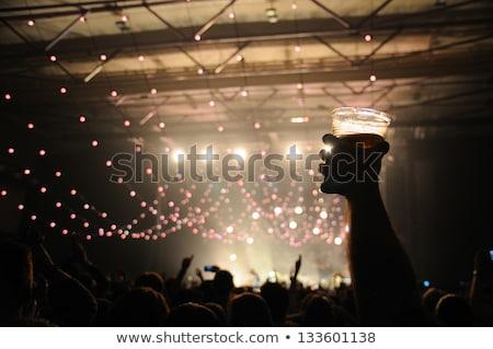 Sagome concerto folla mani band fase Foto d'archivio © stevanovicigor