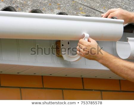 építész · ács · dolgozik · tető · sziluett · erős - stock fotó © zurijeta