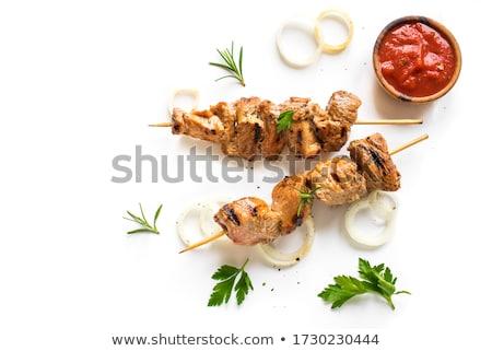 Carne di maiale salsa barbecue lattuga piatto insalata Foto d'archivio © Digifoodstock