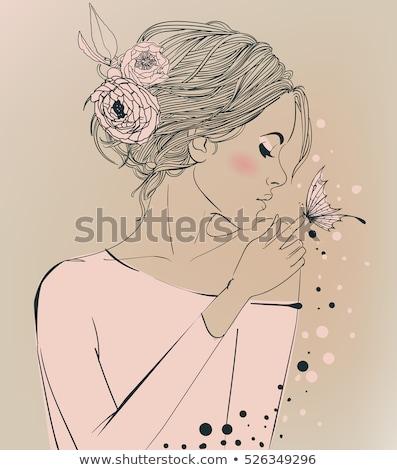 atraente · mulher · jovem · batom · branco - foto stock © konradbak