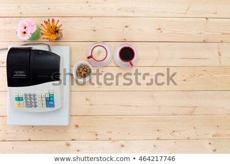 два черный кофе бизнеса деревянный стол Сток-фото © ozgur