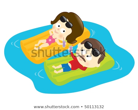 Cute couple relaxing on floating mattress in pool Stock photo © dash