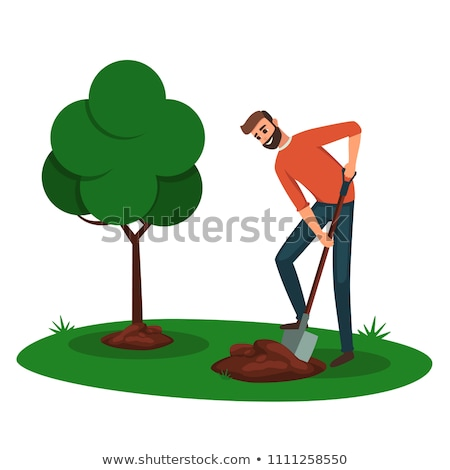 Man digging hole in the park Stock photo © bluering