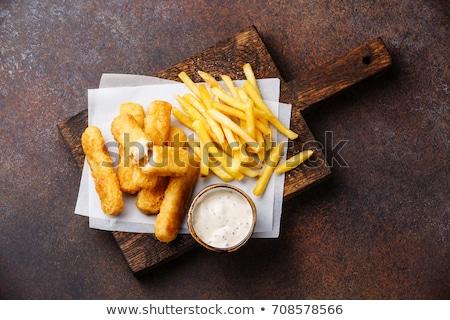 フライド · 魚 · 食品 · 表 · レストラン - ストックフォト © m-studio