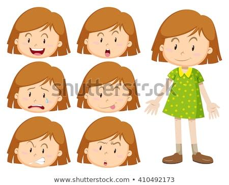 Kislány sok arckifejezések illusztráció boldog szemek Stock fotó © bluering