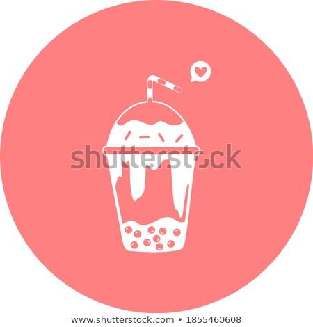 стекла · кофе · пить · вектора · соломы · холодно - Сток-фото © bluering