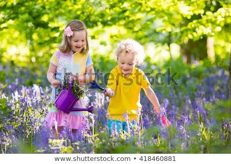 zorgeloos · tweelingen · portret · gelukkig · meisje · lopen · beneden - stockfoto © adrenalina