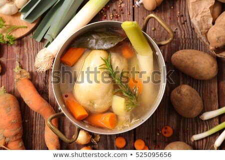 poule au pot,chicken broth with vegetable Stock photo © M-studio