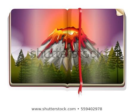 Boek vulkaan uitbarsting scène illustratie bos Stockfoto © bluering