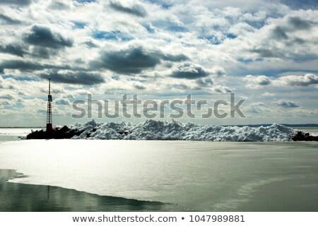 dondurulmuş · göl · Balaton · buz · kule - stok fotoğraf © szabiphotography