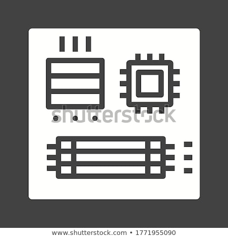 Illustration of computer microchip isolated gray background Stock photo © tussik