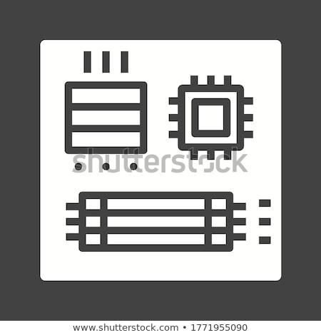 illusztráció · számítógép · mikrocsip · izolált · szürke · 3d · illusztráció - stock fotó © tussik