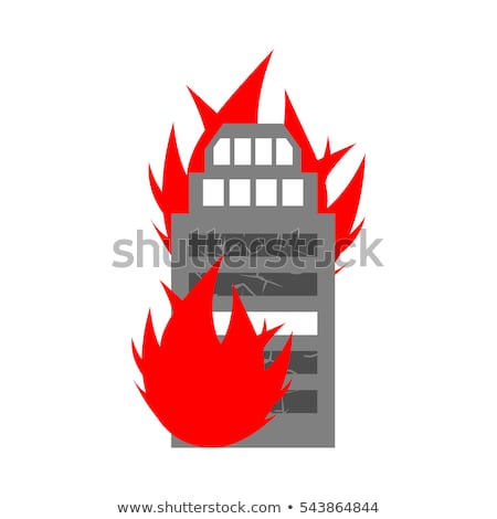 Burn building. Fire in facility. Arson home. Flames from office  Stock photo © popaukropa