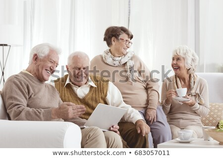 дедушка и бабушка иллюстрация кошки Cartoon бабушки сидят Сток-фото © adrenalina