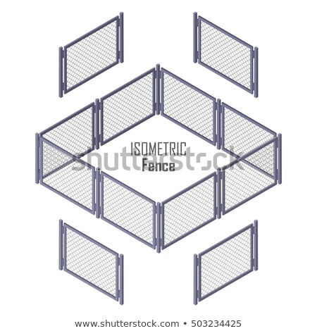Lattice Fence and Gate with Columns Isolated Stock photo © robuart