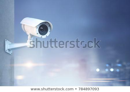 Cctv kamery aparatu bezpieczeństwa Błękitne niebo niebo telewizji Zdjęcia stock © vichie81