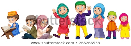 Muslim boy and girl in white outfit Stock photo © bluering