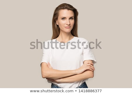 closeup head and shoulders portrait of woman Stock photo © chesterf
