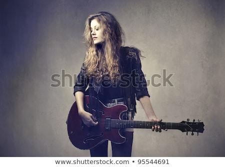 Retrato estrela do rock jogar guitarra homem Foto stock © konradbak