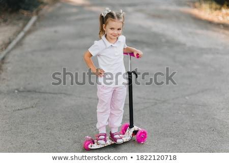 幸せ · 女の子 · ライディング · スクーター · 孤立した · 白 - ストックフォト © tekso