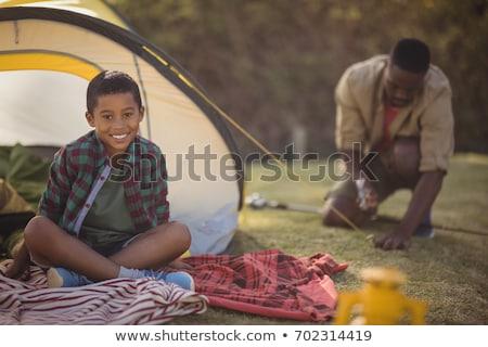 отцом сына вверх палатки парка трава Сток-фото © wavebreak_media