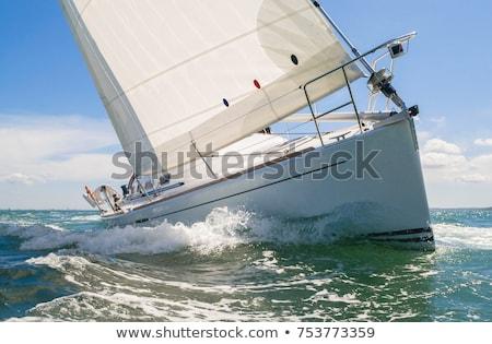 Up Fisheye Ansicht Bogen Segelboot Himmel Stock foto © alexeys