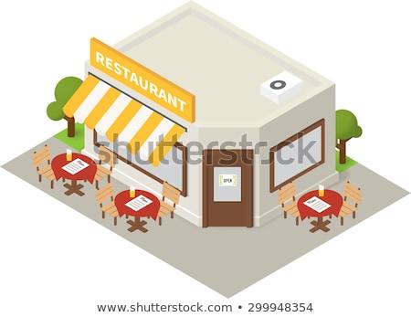 изометрический ресторан дома 3D здании икона Сток-фото © Genestro