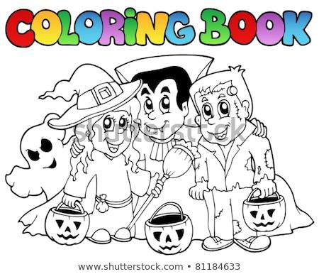 Coloring book vampire theme 3 Stock photo © clairev