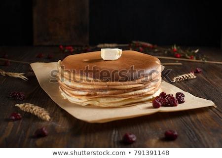 palacsinták · méz · reggeli · étel · áfonya · fa - stock fotó © yelenayemchuk