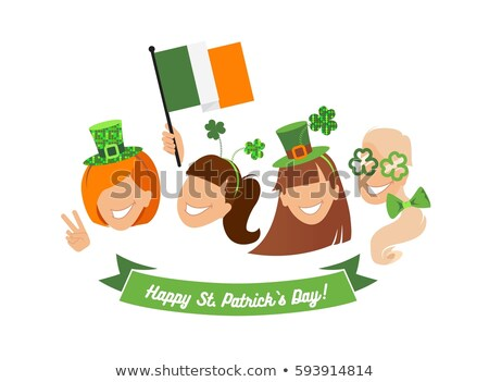 St. Patricks Day Festival. Young woman and man holding banner stock photo © orensila