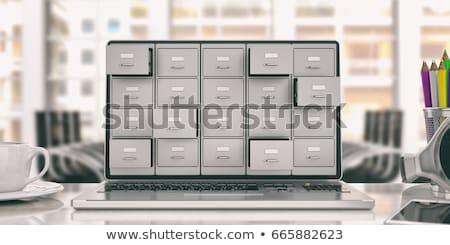 Portátil Screen seguridad base de datos moderna lugar de trabajo Foto stock © tashatuvango