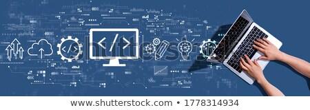 Html コーディング ノートパソコン 画面 クローズアップ 着陸 ストックフォト © tashatuvango
