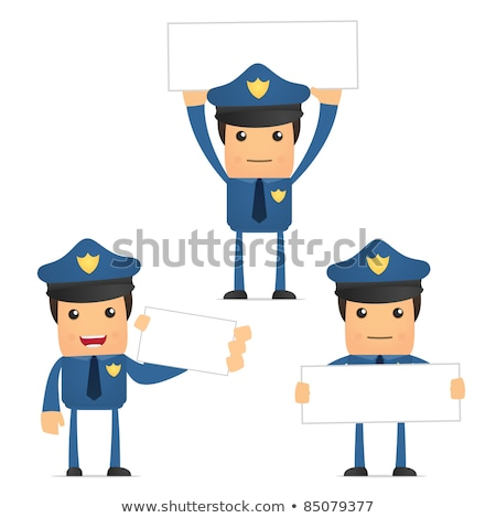 Policeman holding banner blank. police officer and white blank.  Stock photo © popaukropa