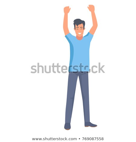 Man Holds Two Hands Up Body Clue Sign of Win Stock photo © robuart