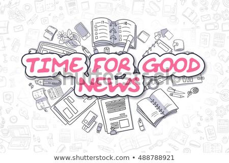 Tempo uma boa notícia desenho animado magenta palavra negócio Foto stock © tashatuvango