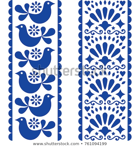 folk art seamless pattern   mexican style long stripes design with birds and flowers in navy blue stock photo © redkoala