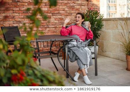 Fiatal nő ül kávézó iszik tea integet Stock fotó © monkey_business
