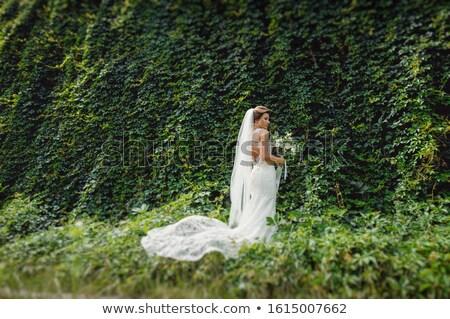 Bride and groom in garden Stock photo © IS2