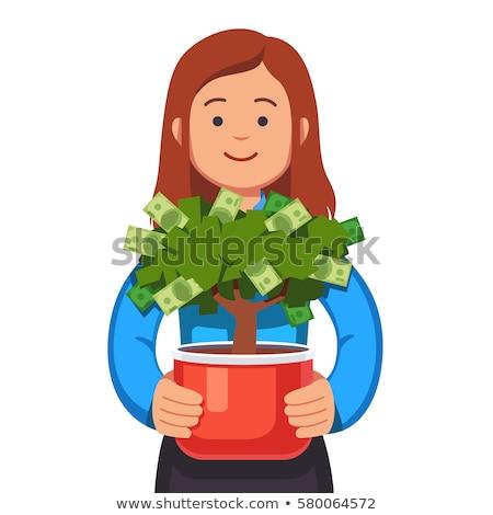 mulher · pequeno · planta · jovem · trabalhador - foto stock © rastudio