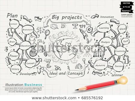 besoin · doodle · vert · affaires · croquis - photo stock © tashatuvango