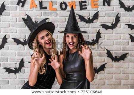 iki · güzel · deri · halloween - stok fotoğraf © deandrobot