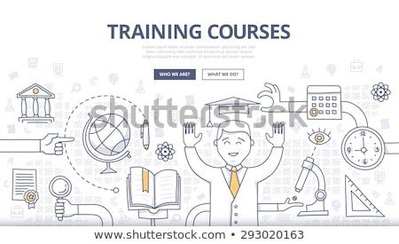 képzés · fejlesztés · téglafal · üzlet · oktatás · kék - stock fotó © tashatuvango