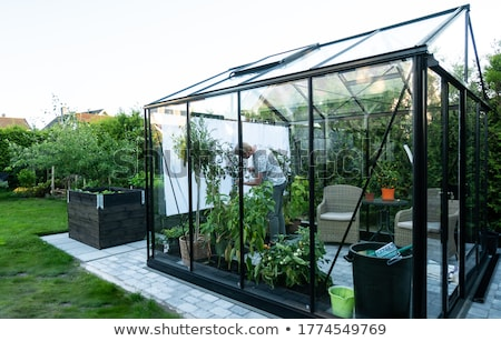 Man building greenhouse in garden Stock photo © IS2