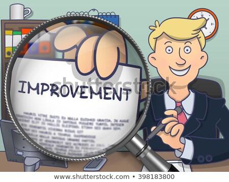 Stock photo: Continuous Improvement through Magnifier. Doodle Style.