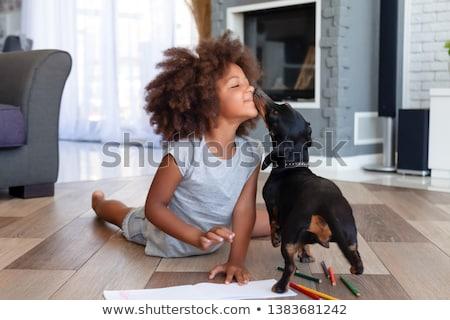 Meisje hond zomer leuk geluk handdoek Stockfoto © IS2