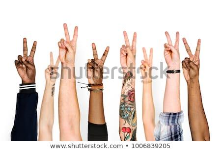 Handen vrede teken verdubbelen blootstelling illustratie Stockfoto © lenm