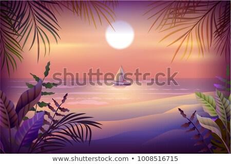 Night landscape of tropical island. Palm trees, beach, sea and sailboat Stock photo © orensila