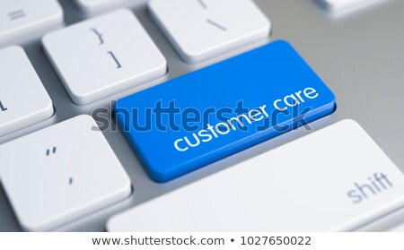 Stock photo: Customer Care - Message on the Blue Keyboard Button. 3D.